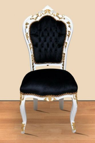CHAIRS FRANCE BAROQUE STYLE DINING ROYAL CHAIR WHITE-GOLD / BLACK #60ST5